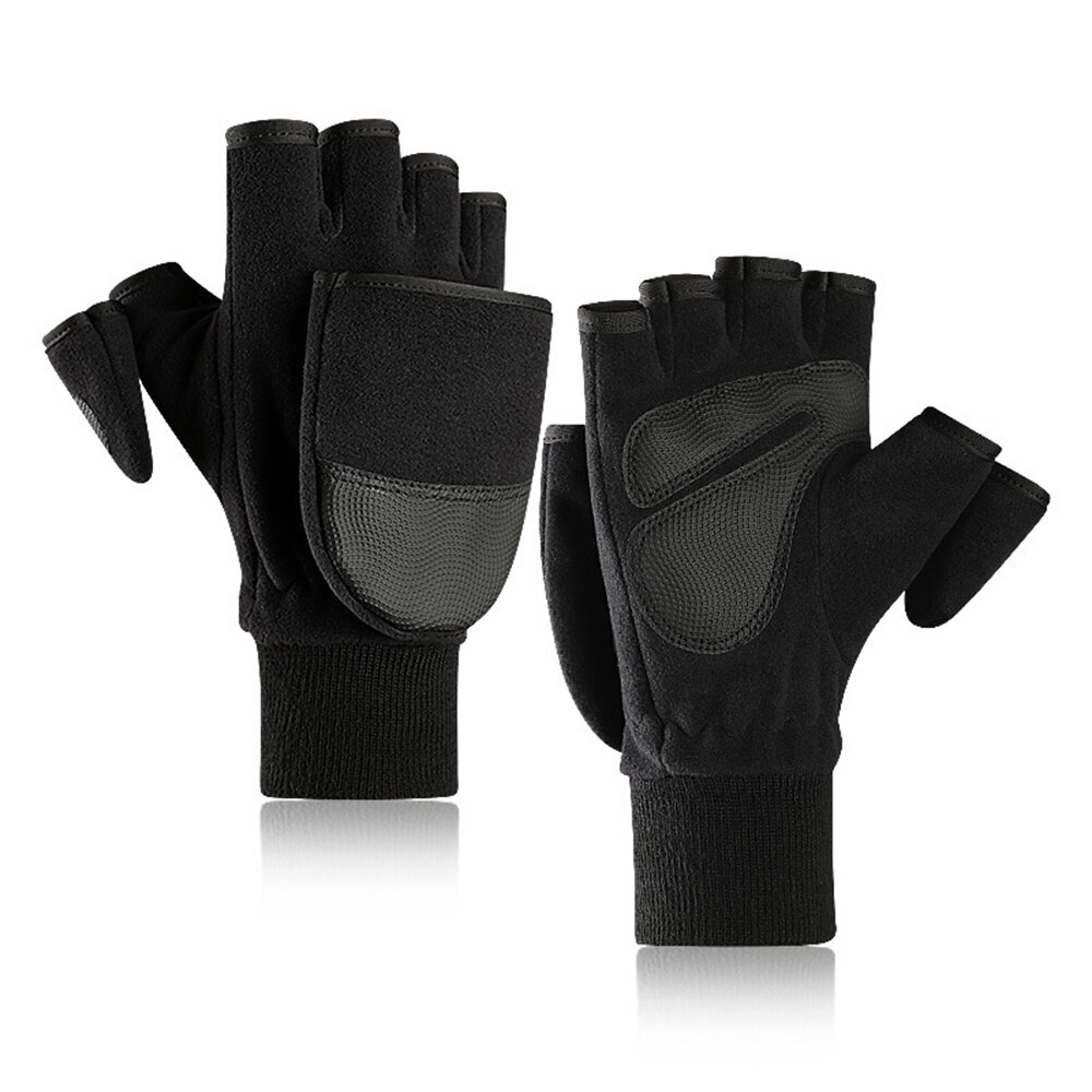 New Season Fleece Warm Gloves Men's Flip Bag Refers To Plus Thick Outdoor Loupe Finger Touch Screen