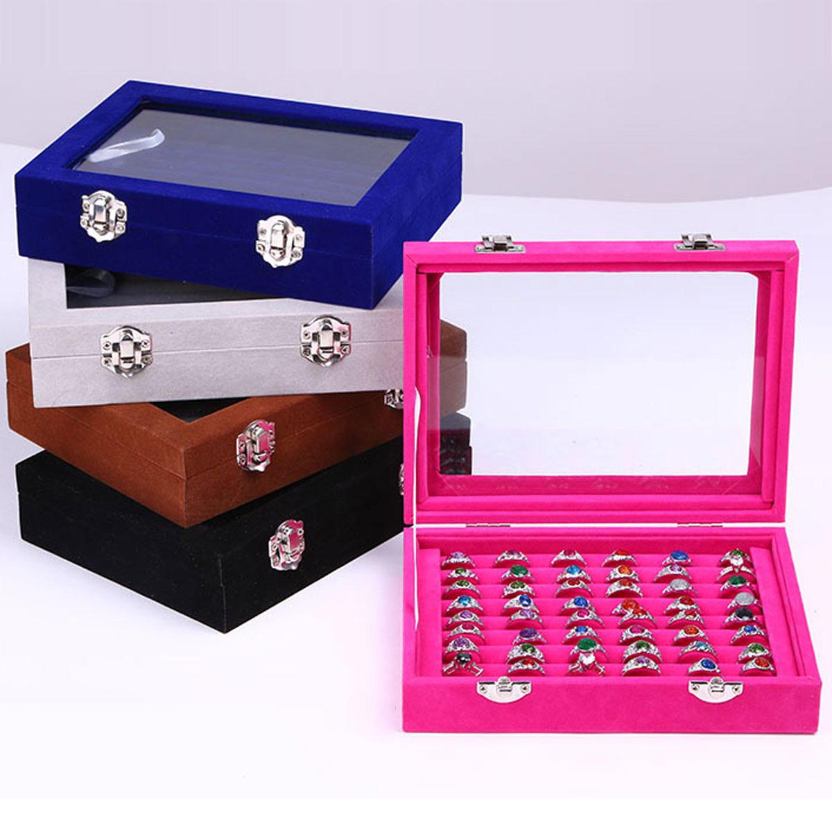Jewelry Velvet Wood Ring Display Organizer Box Tray Holder Earrings Storage Case