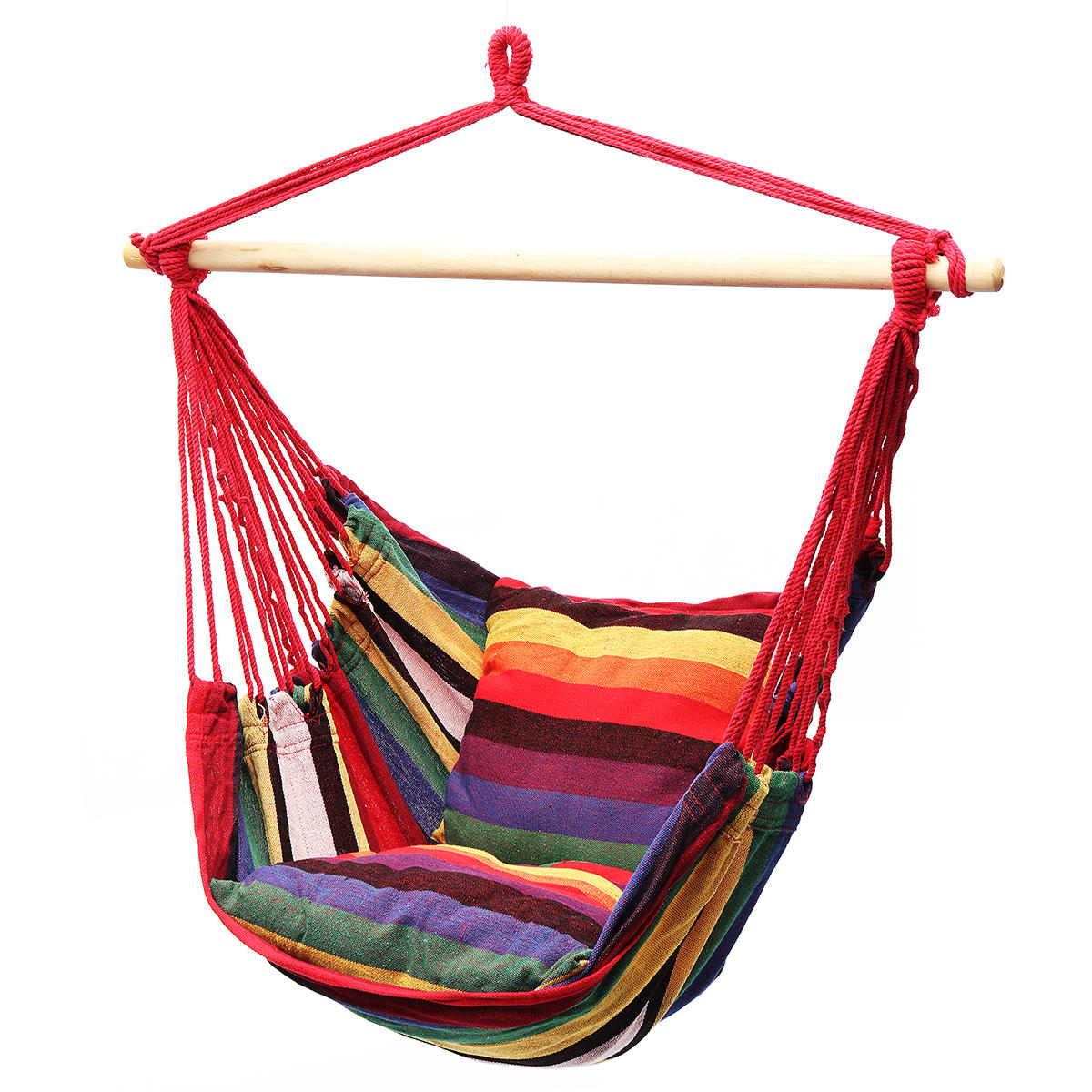 Hanging Hammock Chair Swing Bed Outdoor Indoor Camping Garden Home & 2 Pillows
