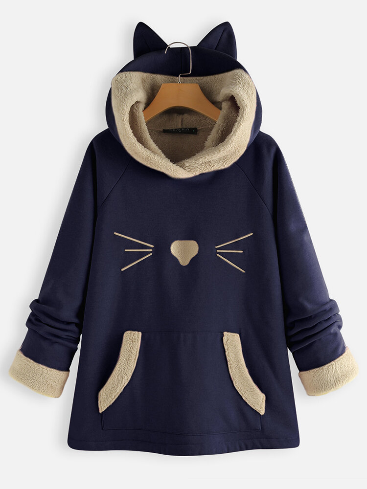 Ears Hooded Fleece Patchwork Cartoon Print Sweatshirt Hoodie For Women