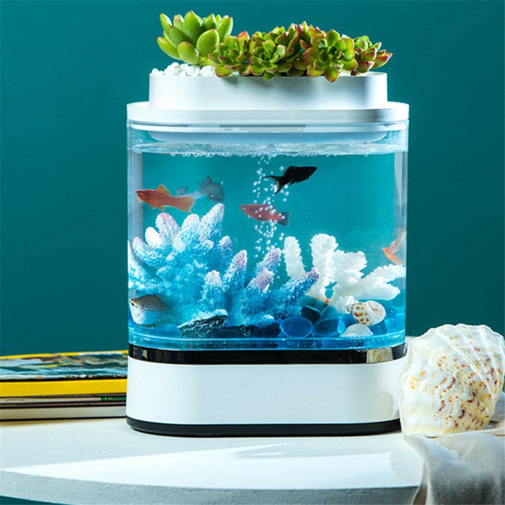 Geometri Mini Lazy Fish Tank USB Charging Self-cleaning Aquarium dengan 7 Warna LED Light dari Xiaomi Youpin