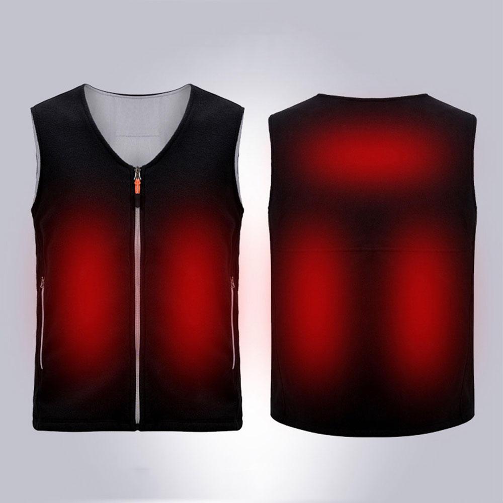 Electric USB Heated Fleece Jacket Warm Graphene Carbon Fiber Men Women Rechargeable Heating Coat Racing