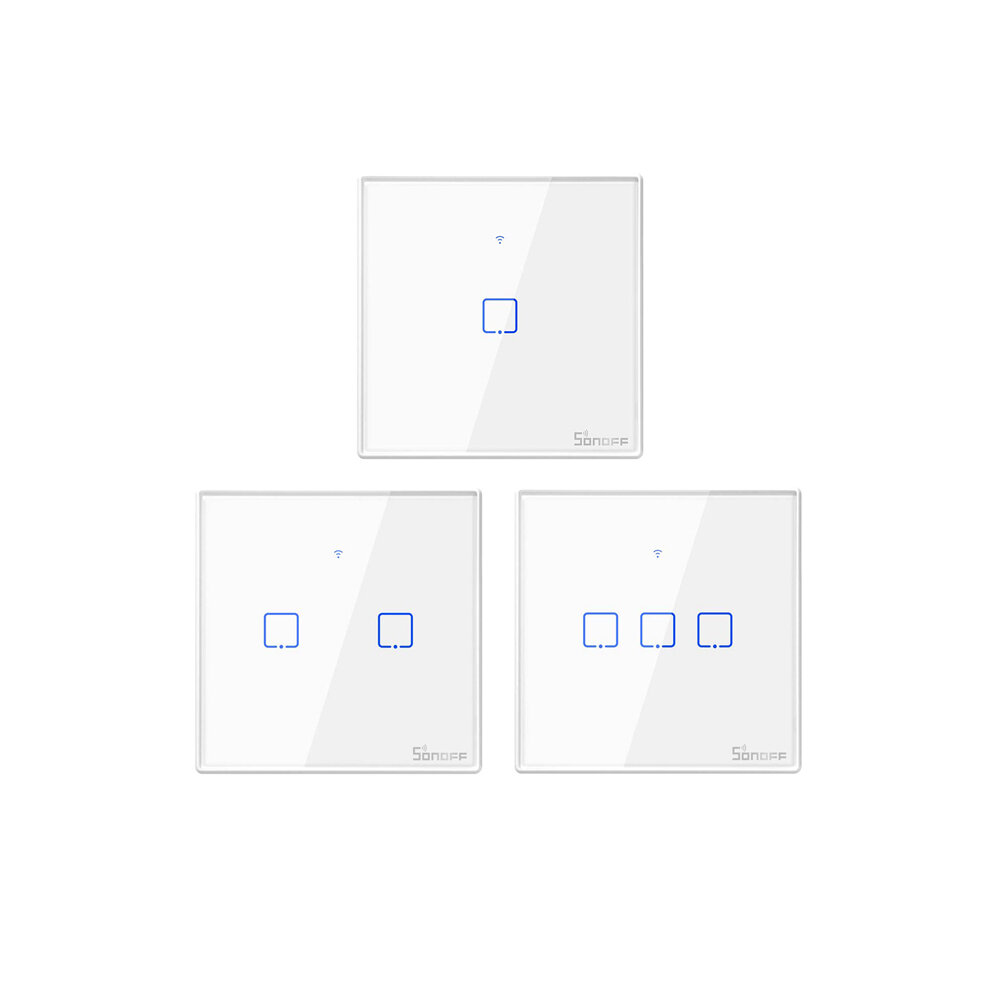 SONOFF® T1 EU/UK AC 100-240V 1/2/3 Gang TX Series WIFI Wall Switch 433Mhz RF Remote Controlled Wifi Switch Smart Home Sw