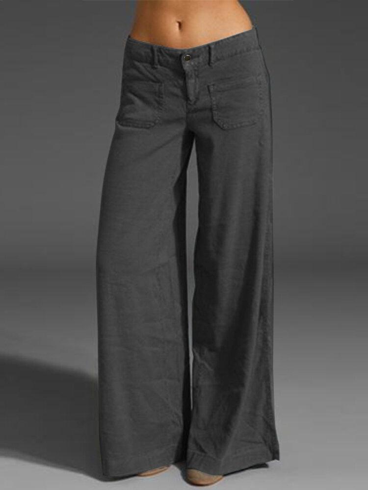 Women Casual Cotton Long Solid Plain Harem Pants