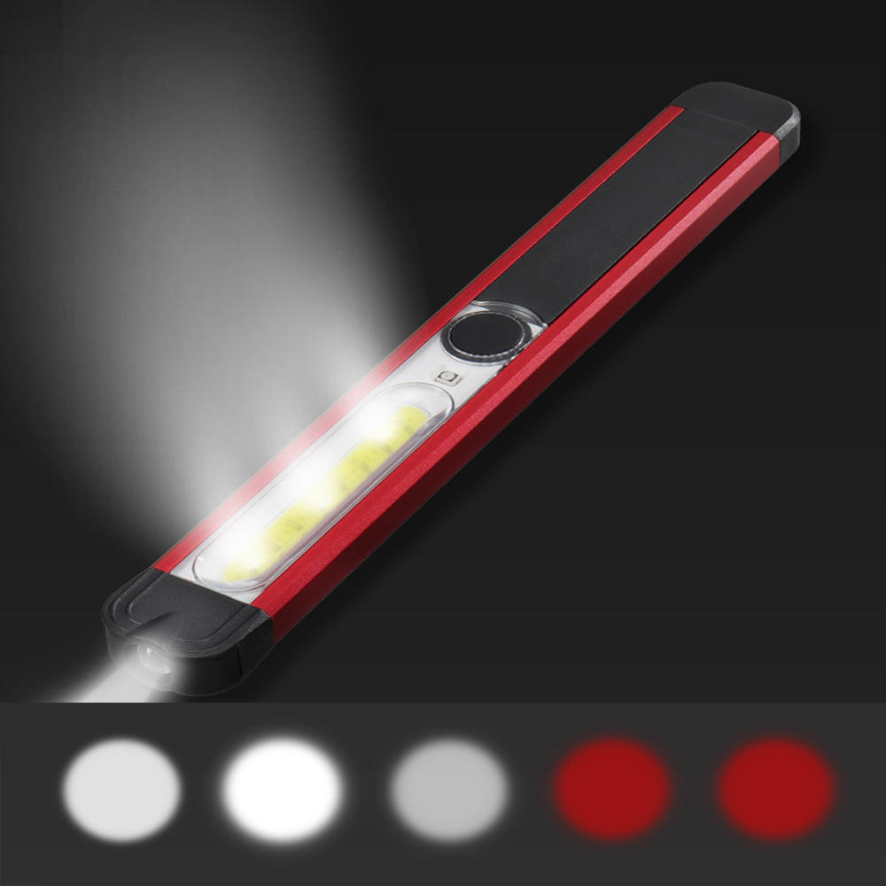 Skywolfeye Portable LED+White COB+Red COB 500Lumens 5Modes USB Rechargeable Work Light Outdoor Multifunctional Waterproof Maintenance Lamp Flashlight with Magnets