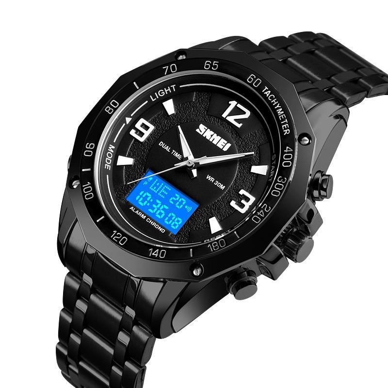 SKMEI 1504 Đa năng EL Sáng Lịch 3ATM Business Men Watch Dual Display Đồng hồ kỹ thuật số
