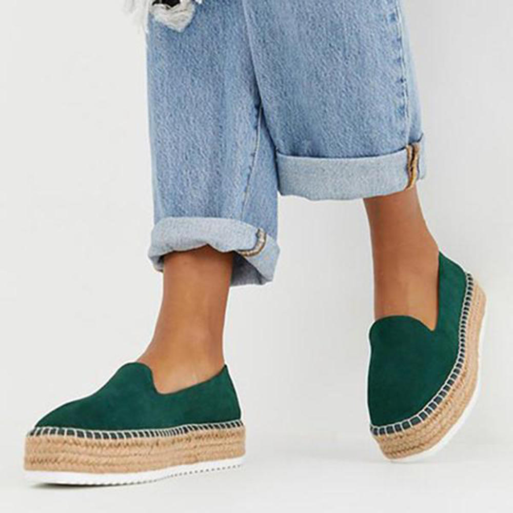 Large Size Women Suede Espadrilles Straw Braided Platform Loafers