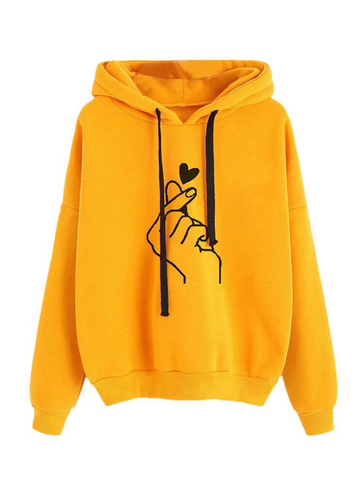 Print Love Drawstring Hooded Casual Sweatshirt For Women