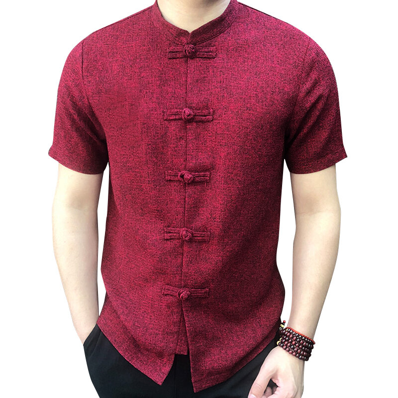 Mens Chinese Style Frog Button Up Short Sleeve T Shirt  Loose Casual Shirt Tops