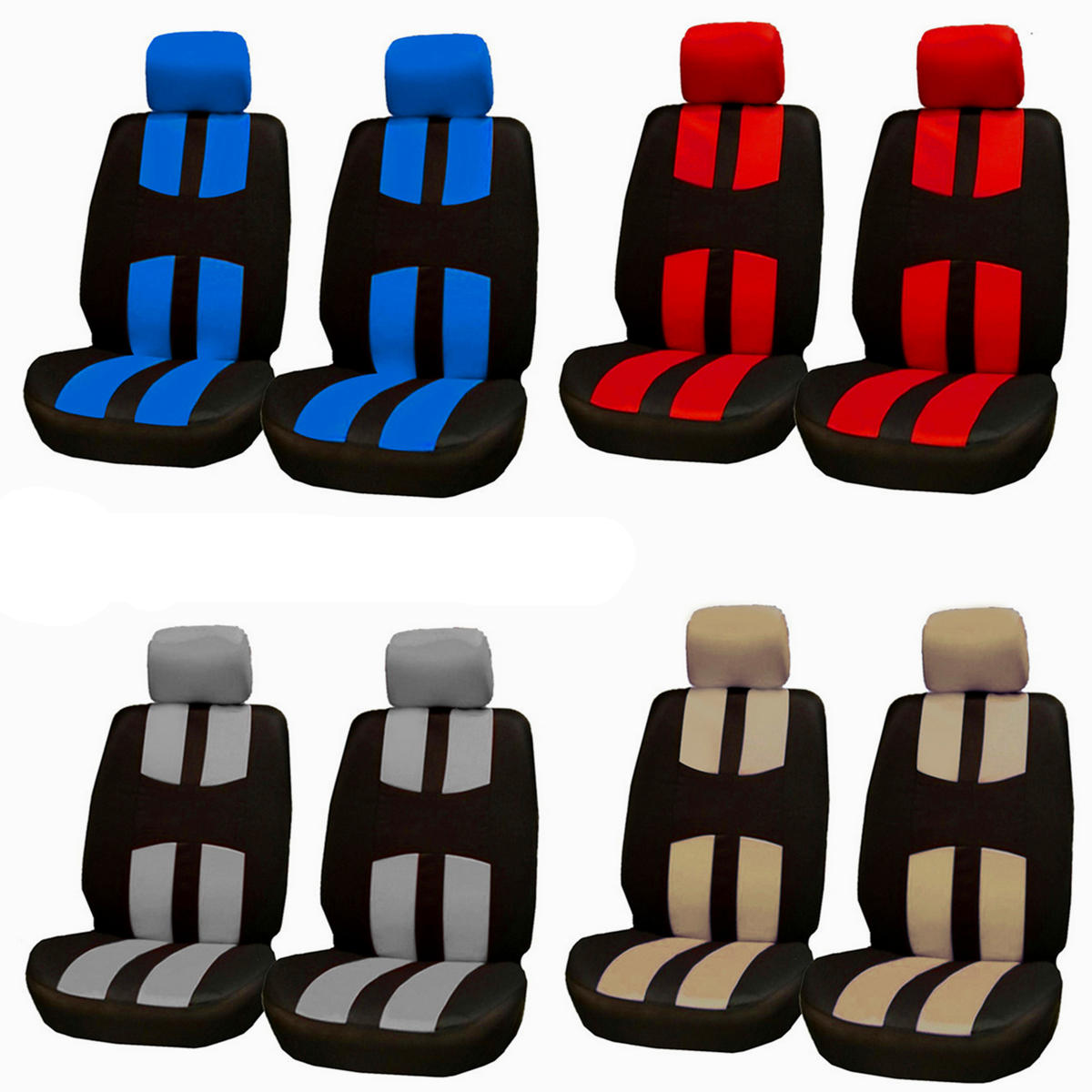Full Set Car Seat Cover Polyester For Auto Truck SUV 2 Heads Breathable 3D Air Mesh Fabric фото