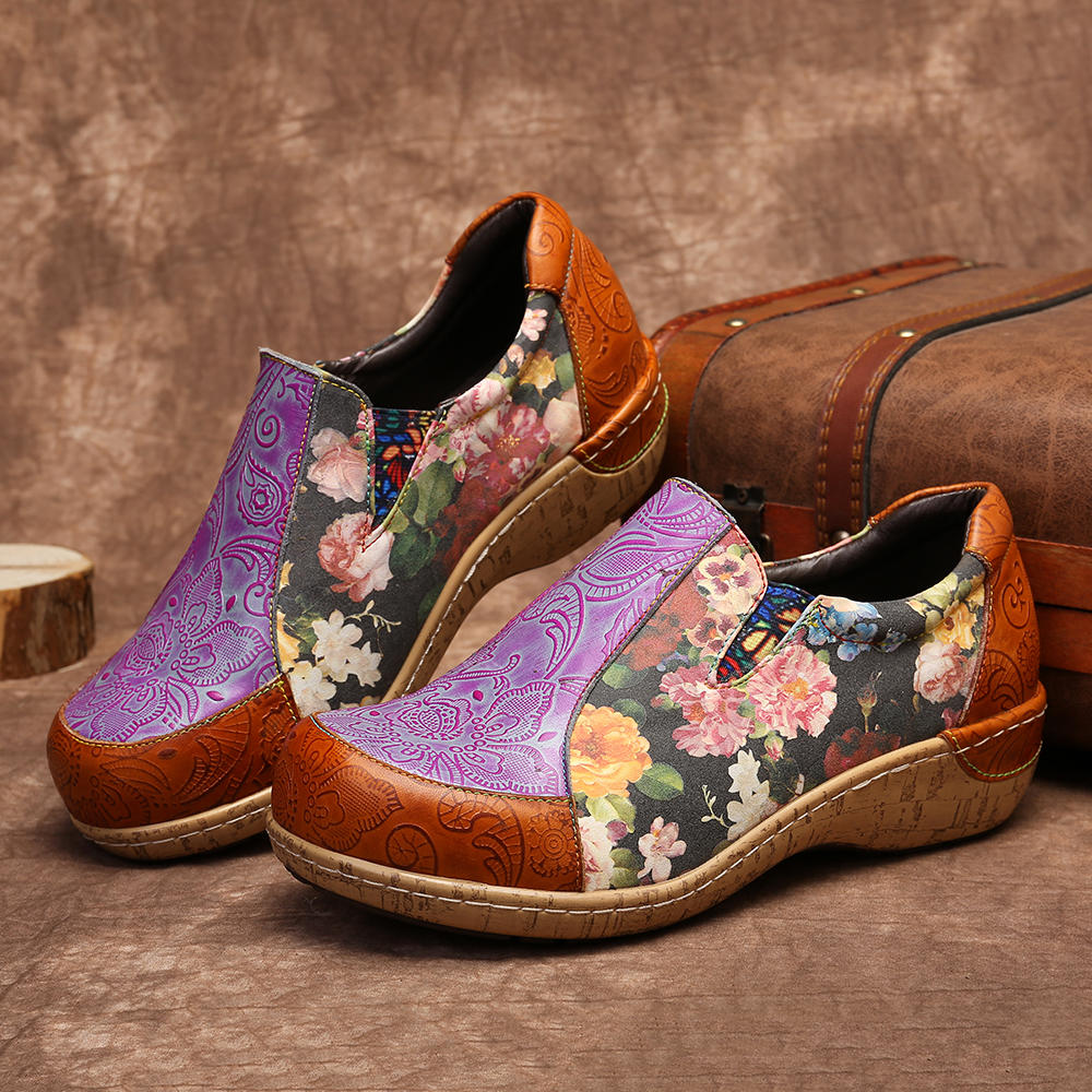 Women Retro  Stitching Comfortable Leather  Loafers