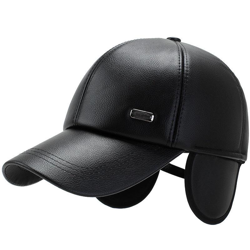 Men Leather Earmuffs Warm Baseball Cap Outdoor Cold Warm Hat