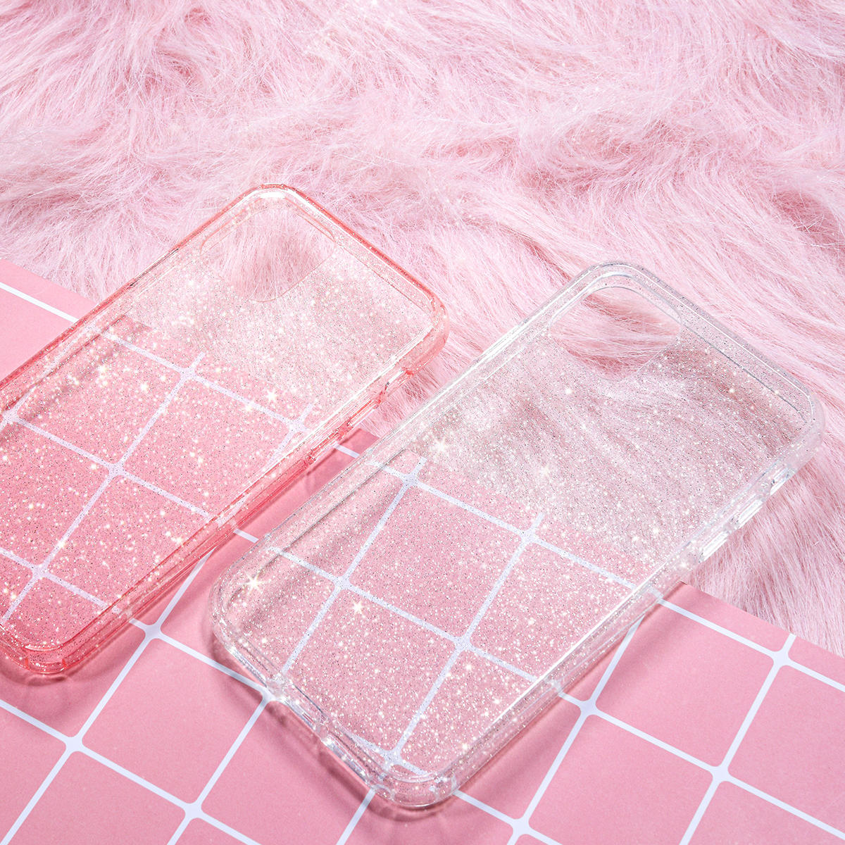 Rock Shockproof Transparent Soft TPU +Hard PC Bling Glitter Shiny Phone Protective Case for iPhone 11 Pro 5.8 inch