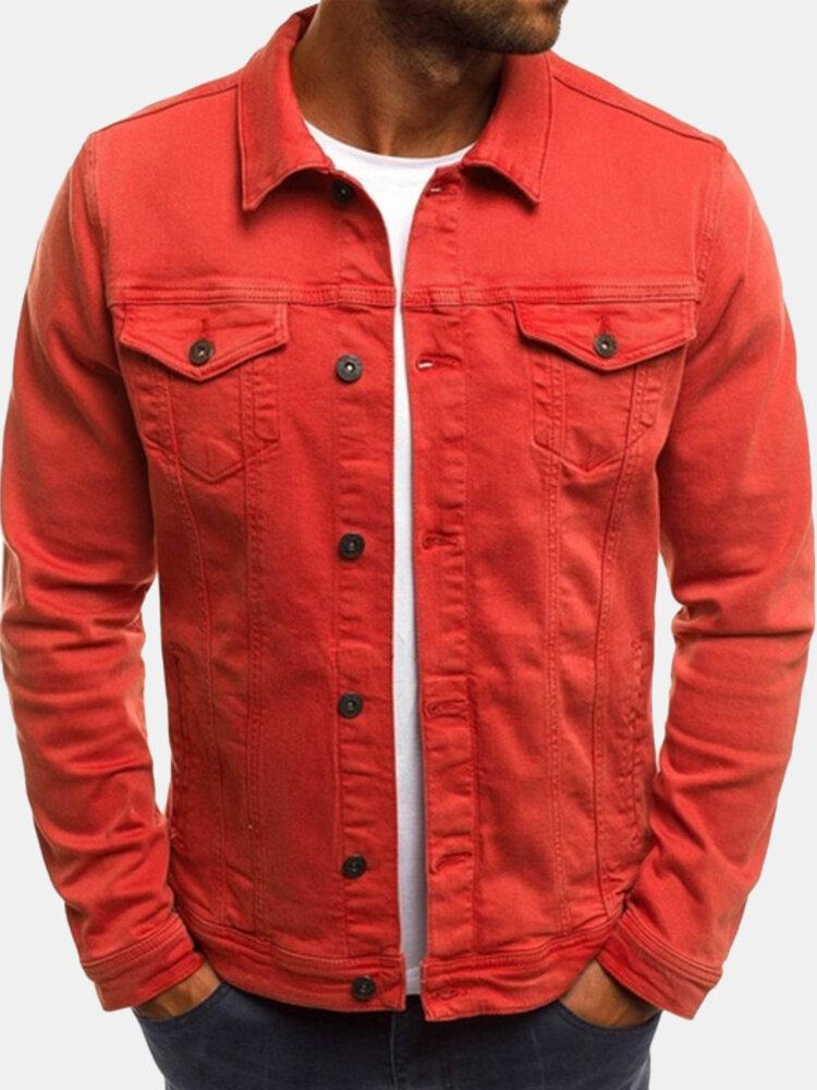 Moda para hombre Multi bolsillos Color sólido Fit Casual Carga Chaqueta