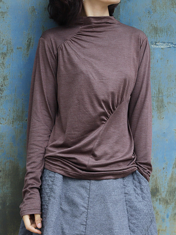Long Sleeved High Collar Pleated Solid Causal T-shirts