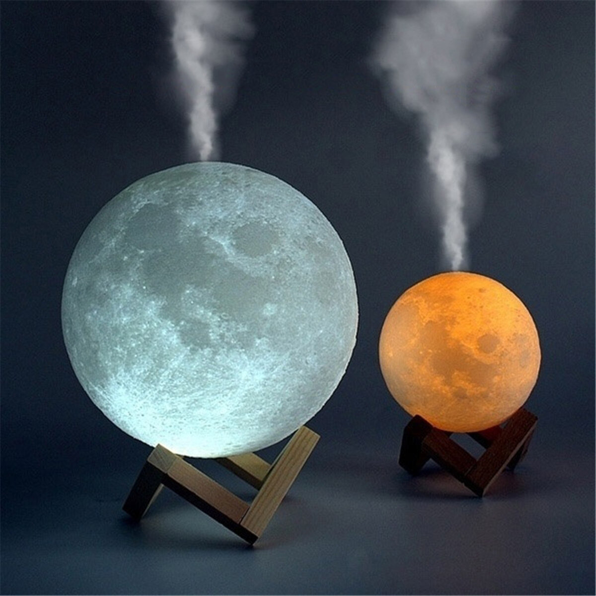 880ml 3d Led Night Light Air Humidifier Moon Lamp Sale Banggood Com
