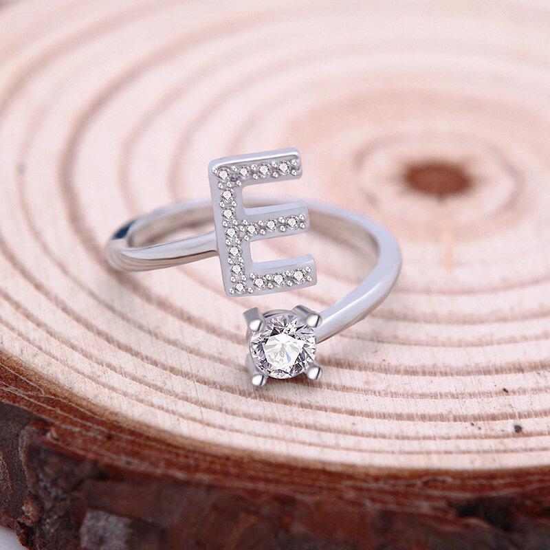 26 Huruf Bahasa Inggris Cincin Tembaga Emas Putih Berlian Imitasi Cincin Geometris Cincin Adjustable