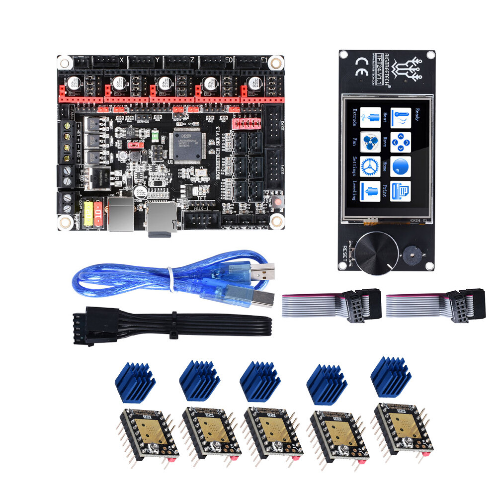 BIGTREETECH 5Pcs TMC2280 Drivers + SKR V1.3 32Bit Controller Board + TFT24 Touch Screen Kit for 3D Printer Parts