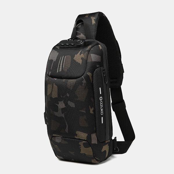 Men Outdoor USB Anti-thfet Multifunctional Large Capacity Waterproof Chest Bag