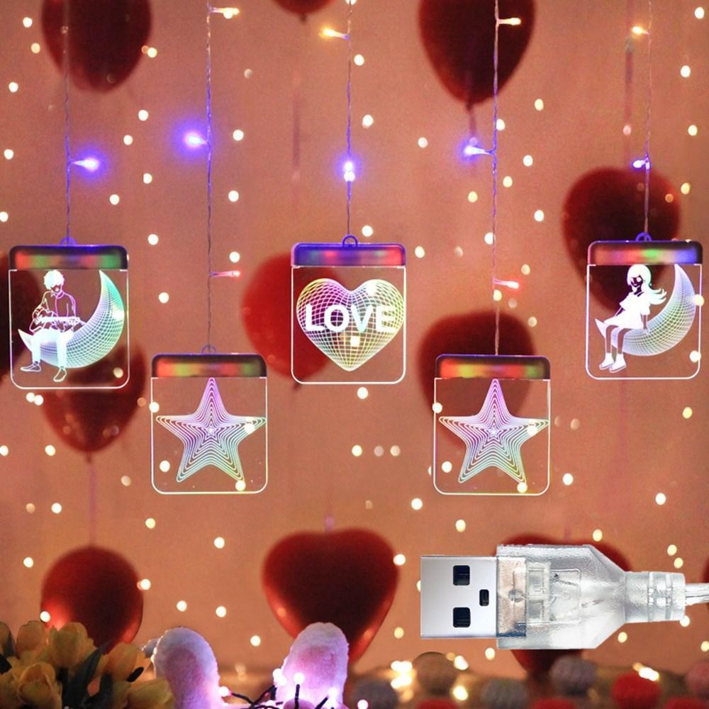 USB 3D Luminous Letters LED String Light Christmas Window Hanging Fairy Lamp for Garlands Indoor Decor DC5V