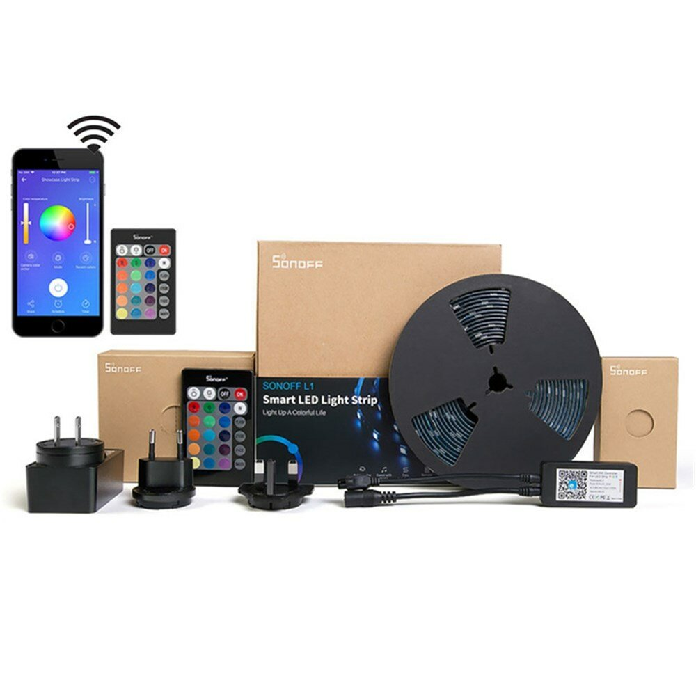 SONOFF L1 Dimmable IP65 2 M 5 M Pintar WiFi RGB LED Strip Cahaya Kit Bekerja Dengan Amazon Alexa Google