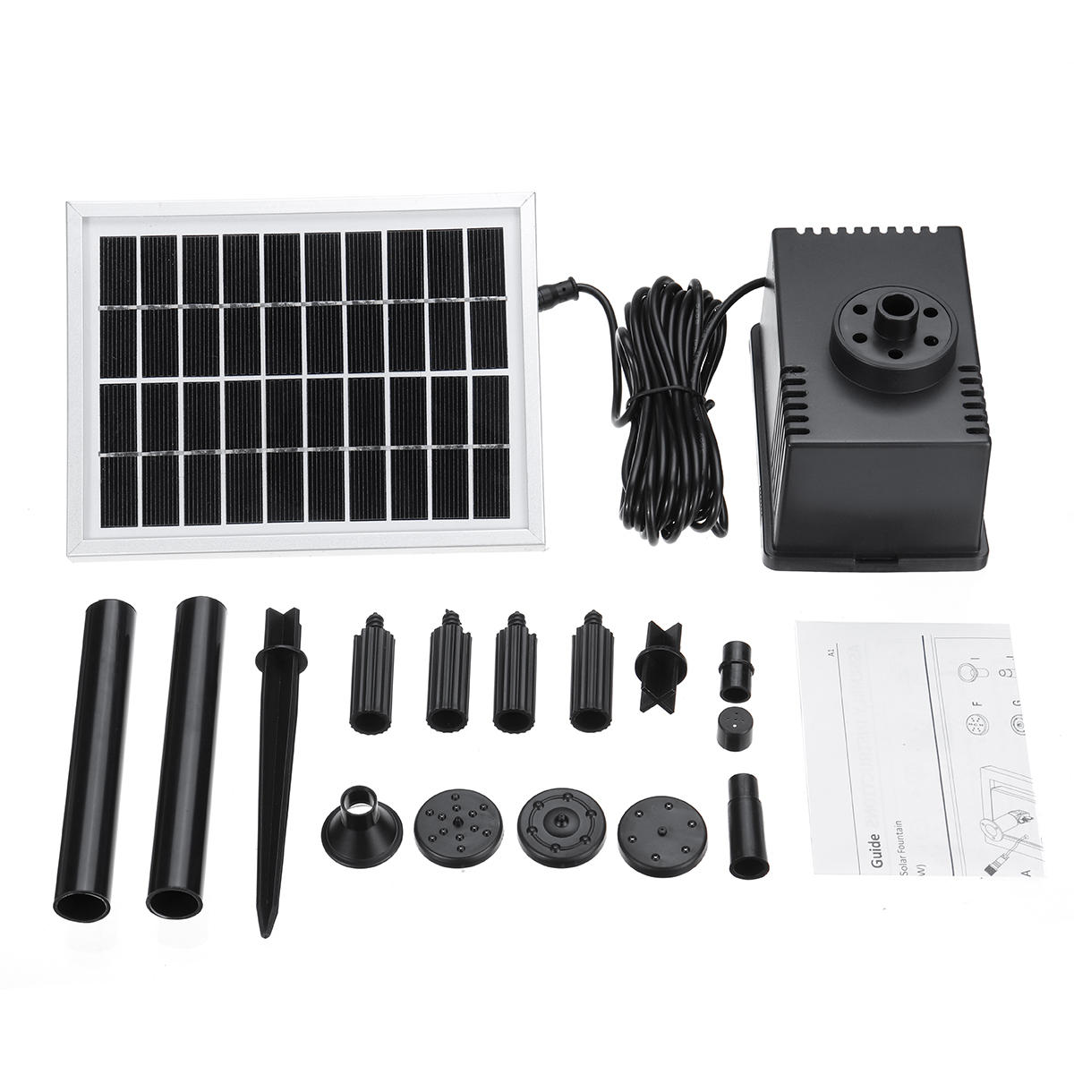 180L/H Solar Fountain Pump Kit Free Standing 2W Solar Panel Submersible Water Pump Pond Fish Tank Bird Bath фото