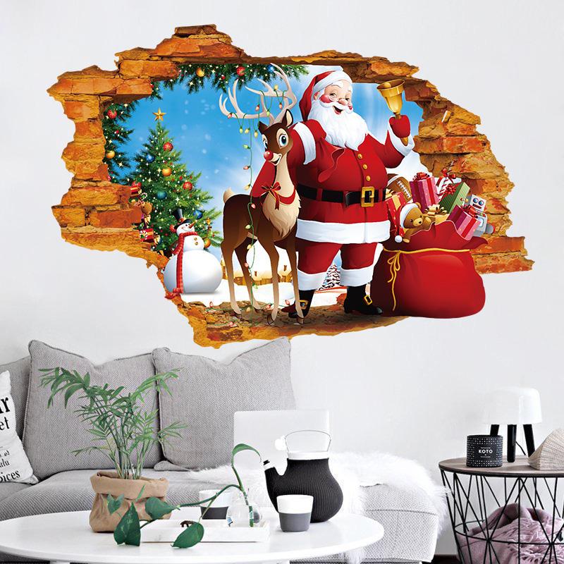 Miico XH7247 क्रिसमस स्टिकर होम डेकोरेशन स्टिकर विंडो और वॉल स्टिकर शॉप डेकोरेटिव स्टिकर