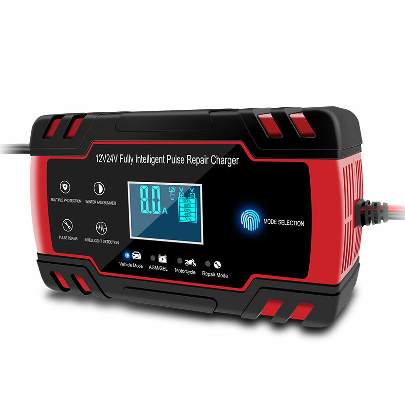Enusic™ 12/24V 8A Red Touch Screen Pulse Repair LCD Battery Charger For Car Motorcycle Lead Acid Battery Agm Gel Wet
