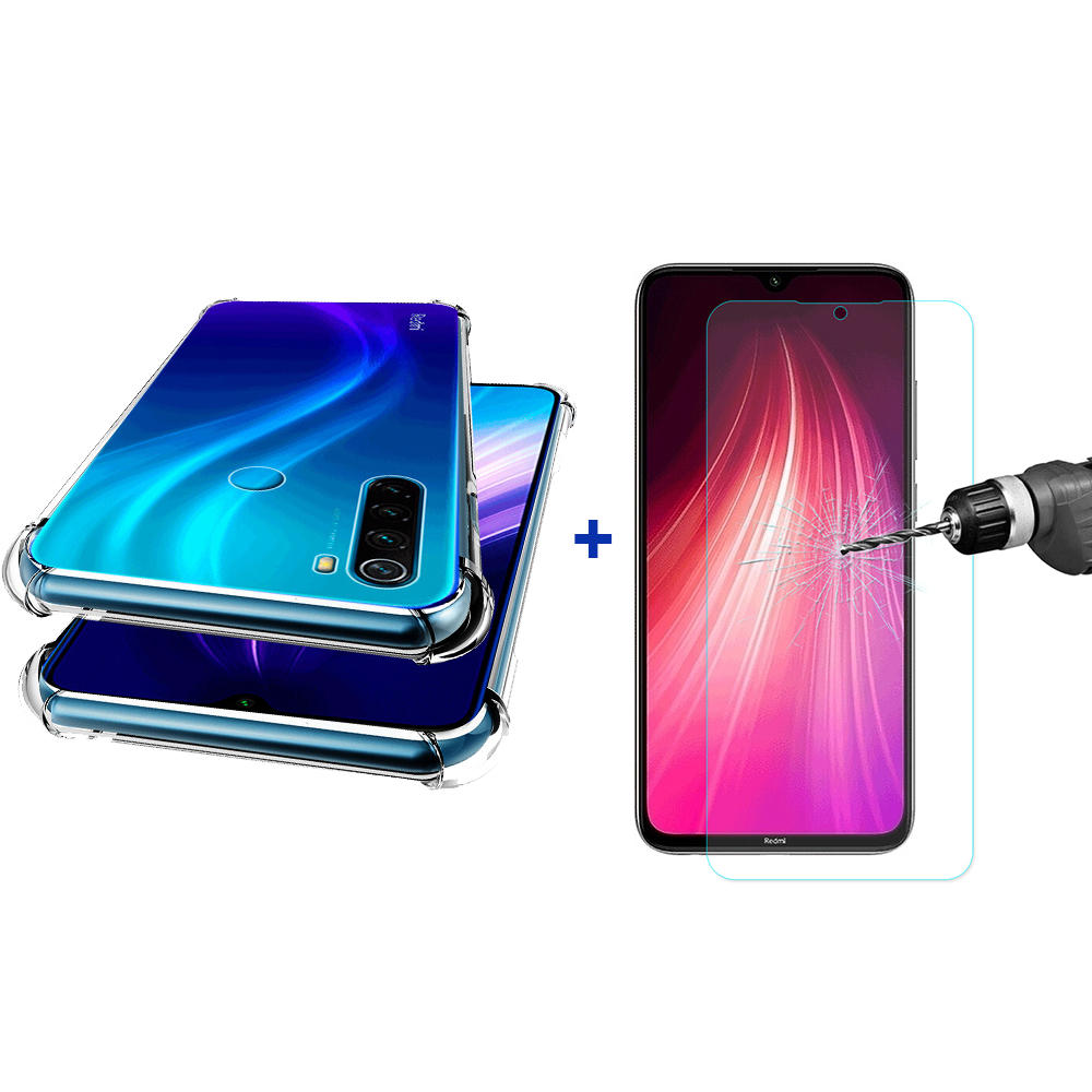 Bakeey Air Bag Shockproof Transparent TPU Protective Case + Tempered Glass Screen Protector For Xiaomi Redmi Note 8