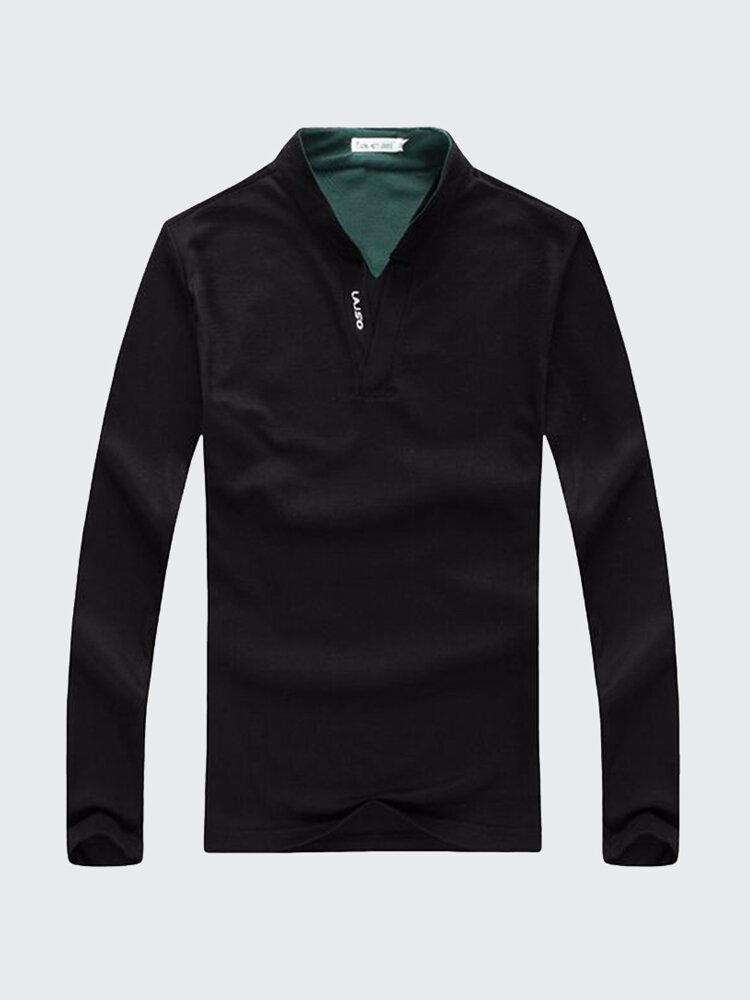 6 colores para hombre deportes de color sólido de manga larga Golf Camisa Tops de cuello Casual Stand