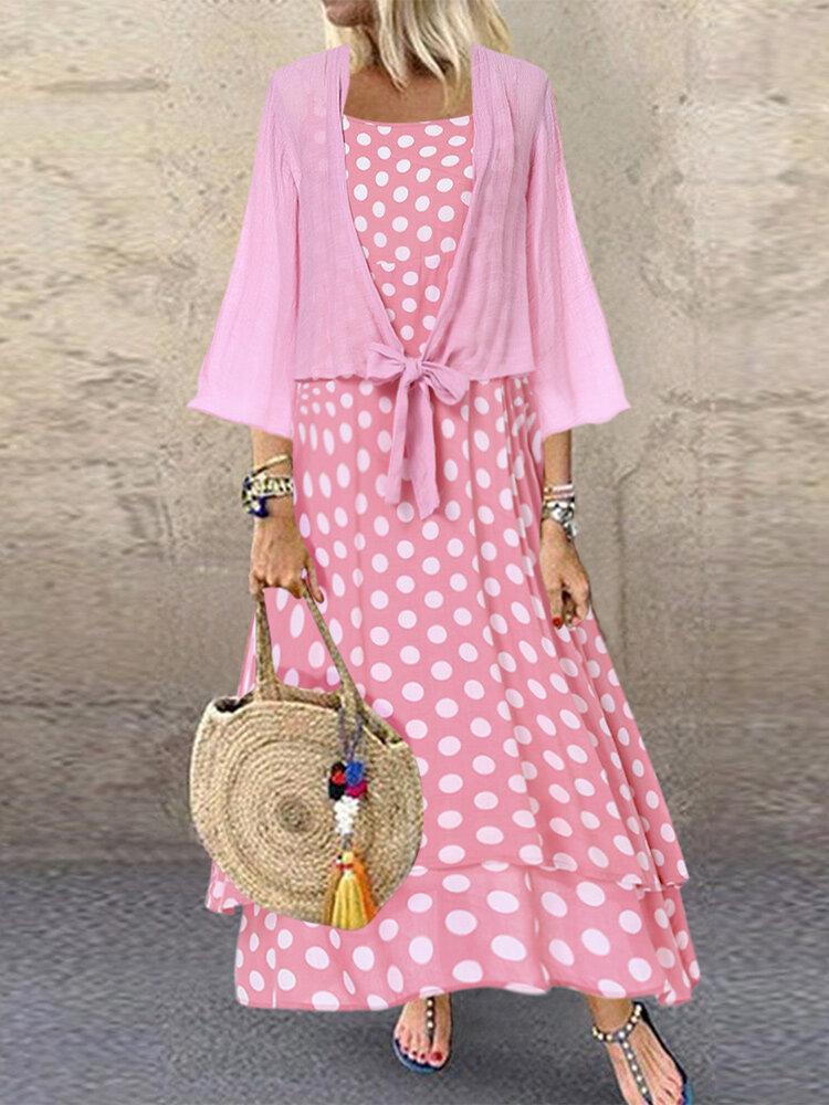 Bohemian Polka Dot Double Layer Straps Two Pieces Dress