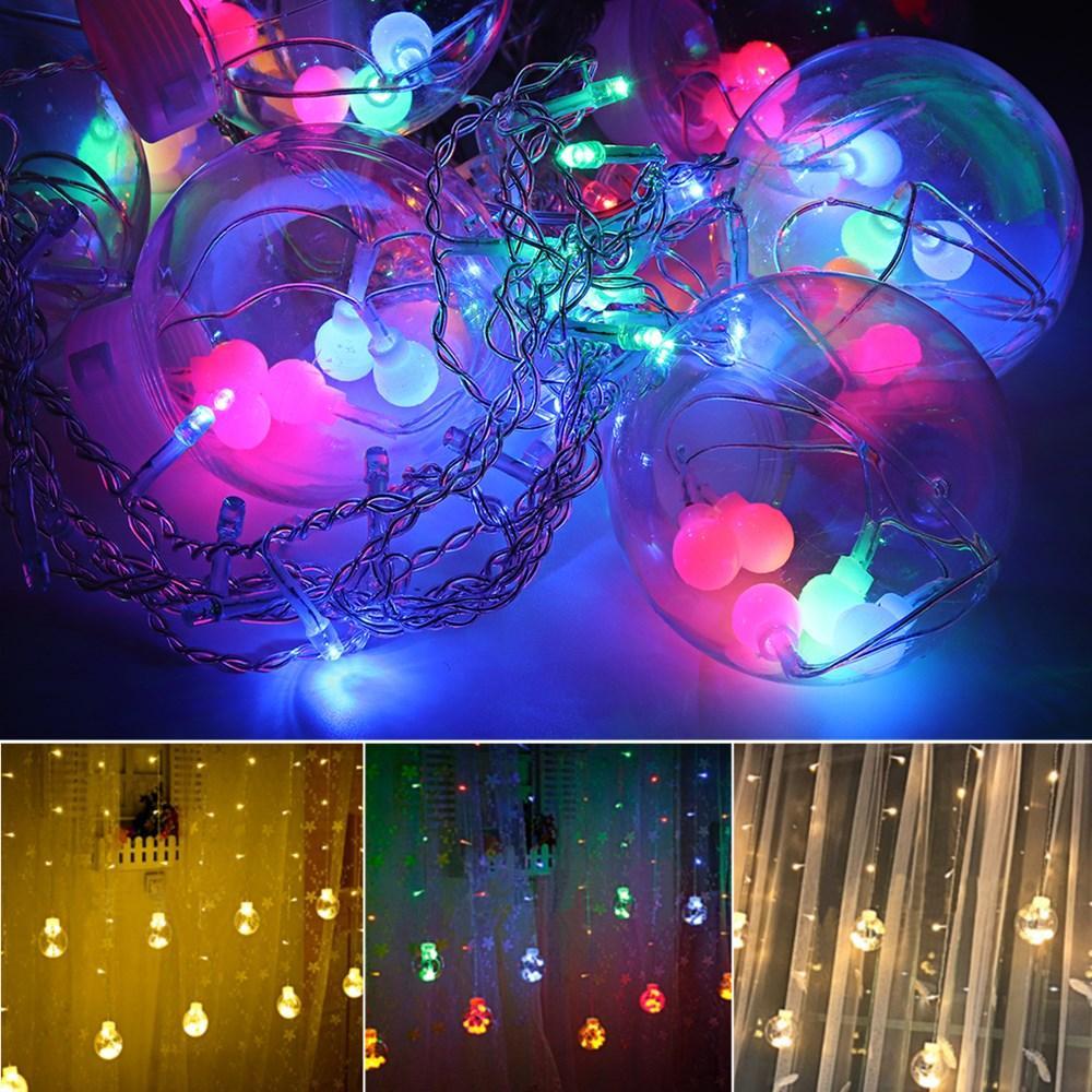 2.5M Warm White Colorful LED Curtain Fairy Christmas String Light Ball Bulb Home Wedding Party Holiday Decor EU Plug