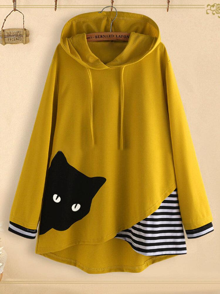 Cartoon Cat Print Stripe Patchwork Hooded Casual Sweatshirt