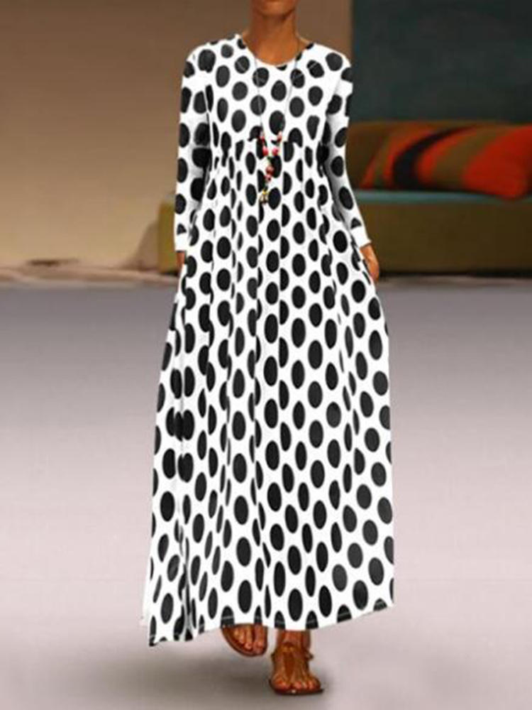Women Casual Polka Dot Long Sleeve Maxi Dress