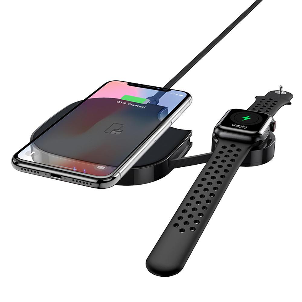 HOCO 10W 2 EN 1 Cargador inalámbrico de carga rápida con X5 Negro Type-C Cable de carga para Apple Watch iPod iPhone X XS HUAWEI P30 XIAOMI MI8 MI9 S10 S10+