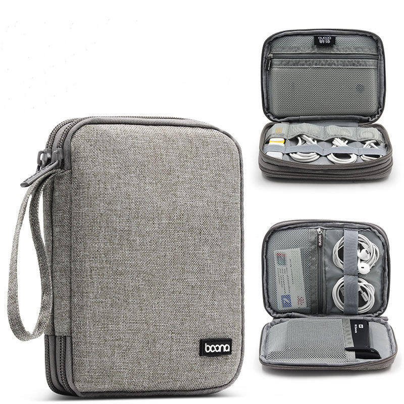 Boona 18*14cm Double-layer Digital Accessories Storage Bag USB Cable Charger Organizer Tablet Bag