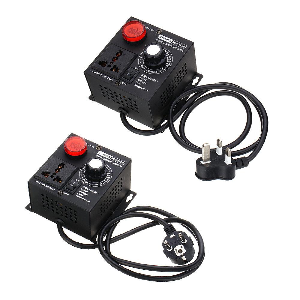 EU/UK Plug AC 220V 4000W SCR Electronic Voltage Regulator Temperature Motor FAN Speed Controller Dimmer Electric Tool Adjustable