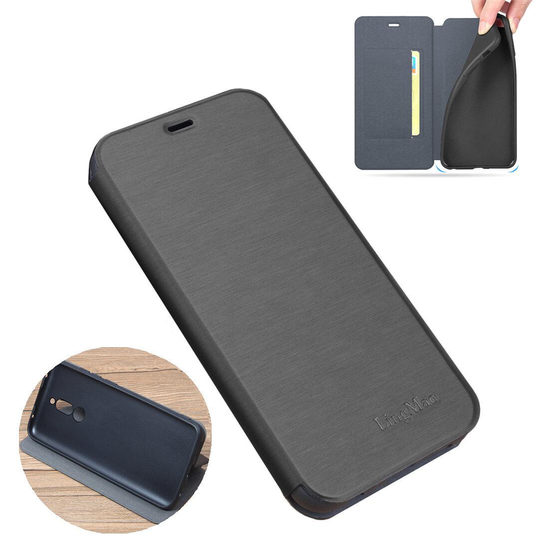Per Xiaomi Redmi 8 Custodia Bakeey Flip con fessura per scheda di supporto Custodia protettiva in pelle spazzolata Soft antiurto per tutto il corpo