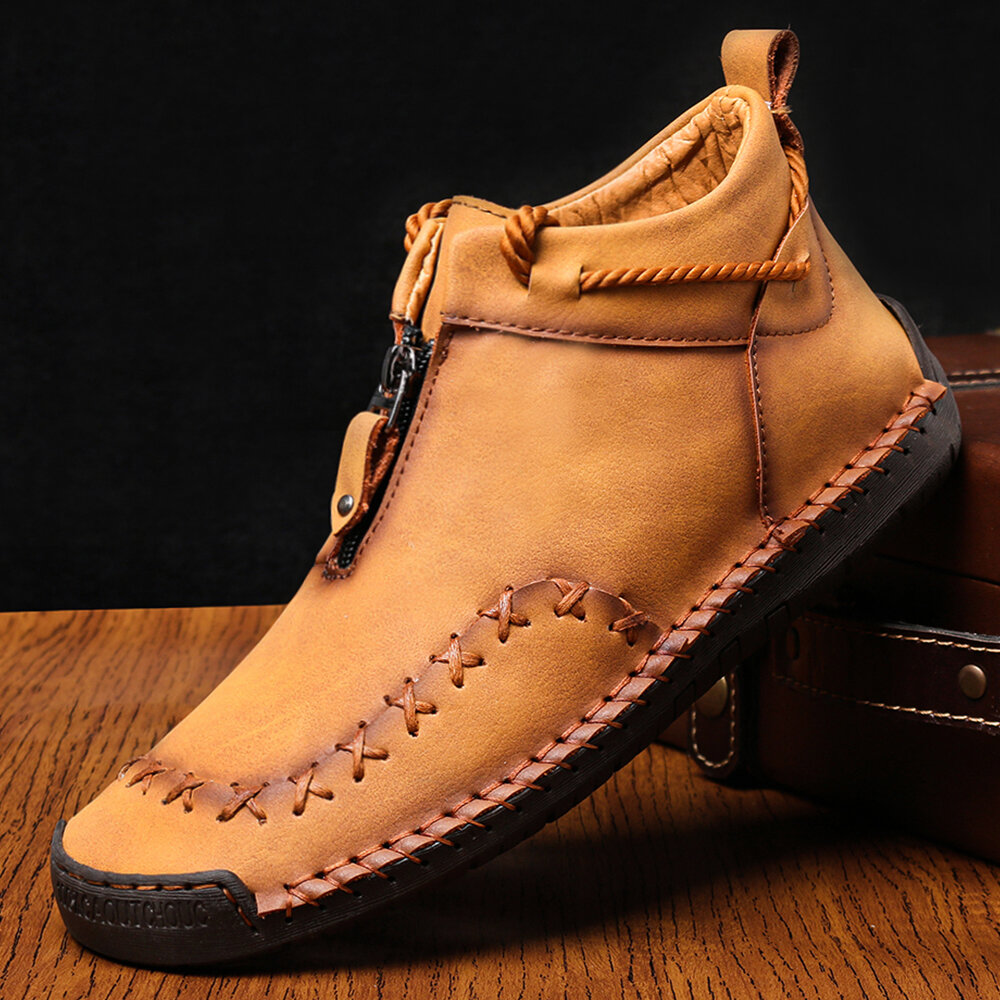 Men Hand Stitching Zipper Genuine Leather Casual Business Ankle Boots, Menico  - buy with discount