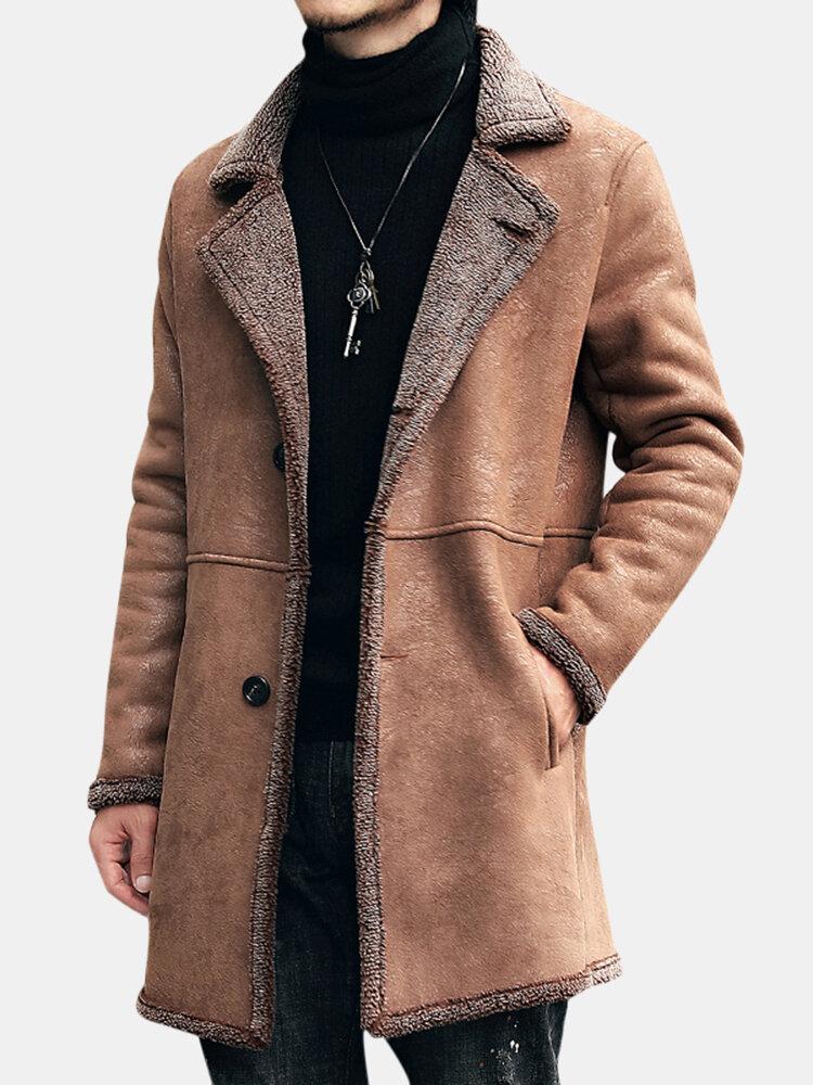Mens Mid Panjang Musim Dingin Faux Chamois Kulit Domba Fur Trench Coat Tebal Hangat Suede Jacket
