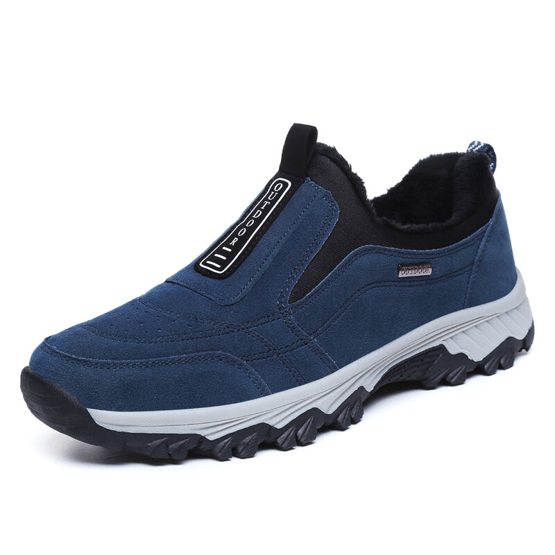 Men Suede Warm Plush Lining Non-Slip Outdoor Hiking Sneakers