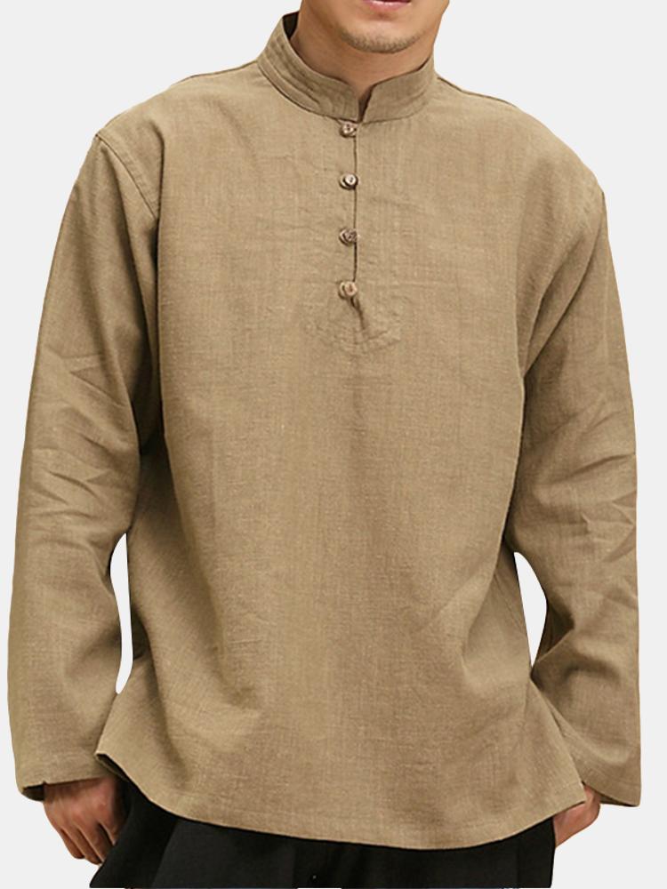 Kiểu dáng Trung Quốc Cổ áo màu rắn Áo thun rộng Kiểu dáng nam giản dị Nút thiết kế áo thun
