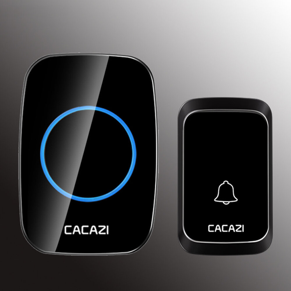 CACAZI 1 Receptor 1 Transmisor Enchufe de la UE 300M Control remoto LED Indicador inalámbrico Impermeable Timbre de CA