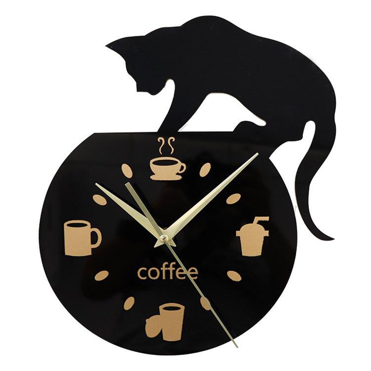 Emoyo ECY013 DIY Creative Coffee Cat Wall Clock Animal Wall Clock Quartz Wall Clock For Home Office Decorations фото
