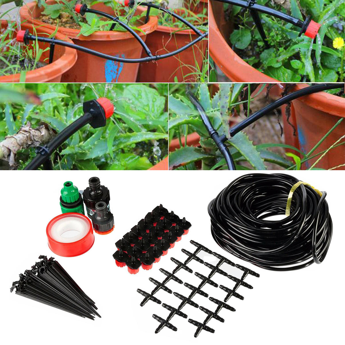15M SET king do way Micro Drip Irrigation Kit Patio Plant Watering Kit Watering System Adjustable Drippers Micro Flow Drip Watering Kits Automatic Sprinkler System Kit for Outdoor Garden