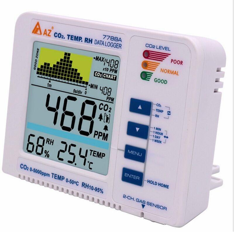 AZ7788A CO2 Gas Detector Desktop Carbon Dioxide Data Logger Range 9999ppm Air Quality Temperature RH Meter Alarm Trend R, Banggood  - buy with discount