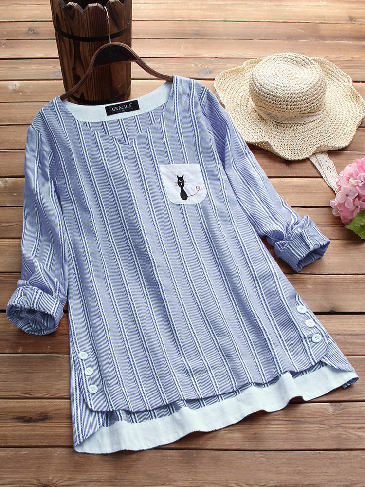 Vintage Women Cotton Side Buttons Stripe Cat Embroidered Patchwork Blouse