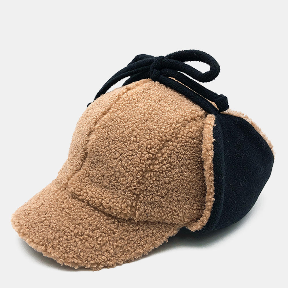 Unisex Tweed Earmuffs Warm Solid Color Baseball Cap With String