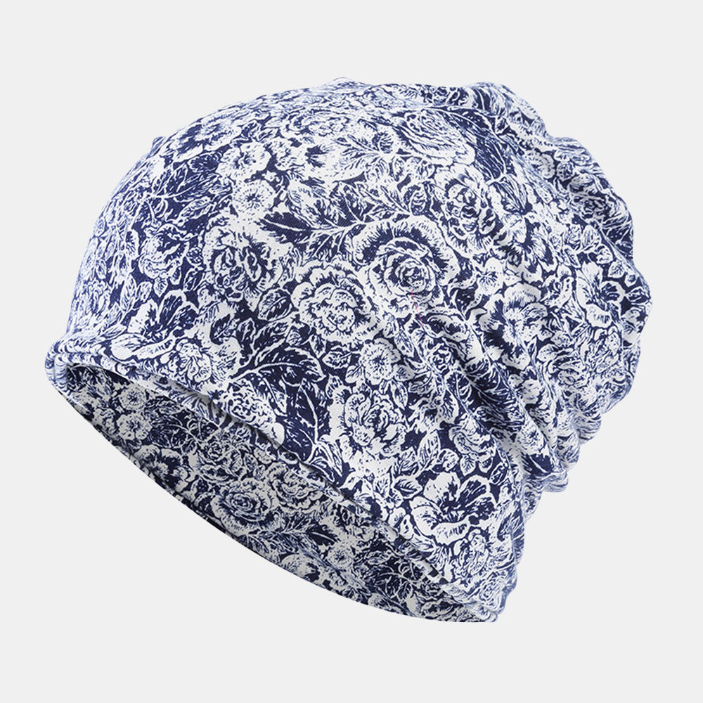 Women Cotton Multi-purpose Rose Pattern Printing Beanie Cap Bib Headscarf