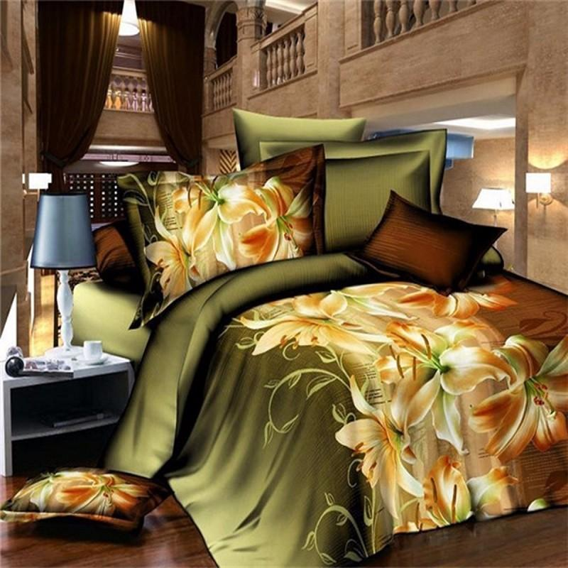 3D Perfume Lily Polyester Fiber Bedding Sets Bedding & Wedding Sheet Quilt Cover Pillow Cover Duvet Cover, Banggood  - buy with discount